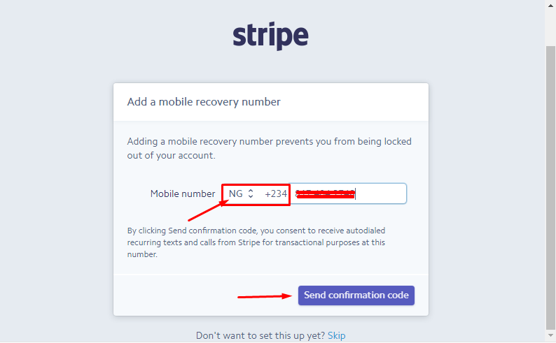 setup stripe account for non-US residents